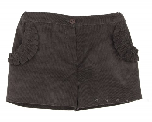 Brown Gray Corduroy Shorts with Frilly Pockets