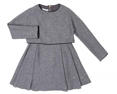 Girls Grey Wool 2 Piece Effect Dress