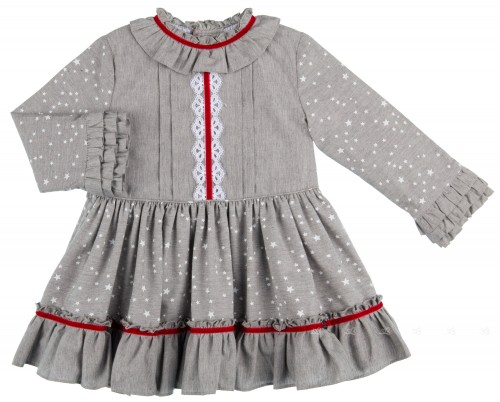 Dolce Petit Vestido Volantes Estrellitas Gris & Encaje Blanco