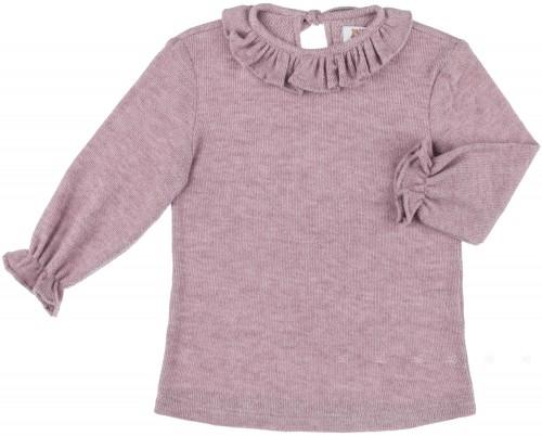 Camiseta Niña Punto & Cuello Volante Rosa Palo