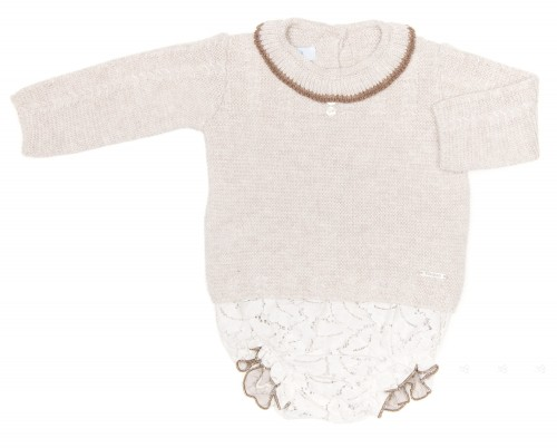 Baby Beige Knitted Sweater & Short Set