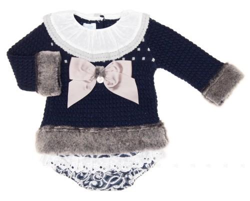 Blue Knitted Sweater & Brocade Short Set