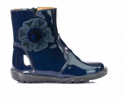Blue Patent Boots With Suede & Velvet Flower