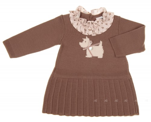 Chocolate Knitted Dog Dress with Ruffle Collar
