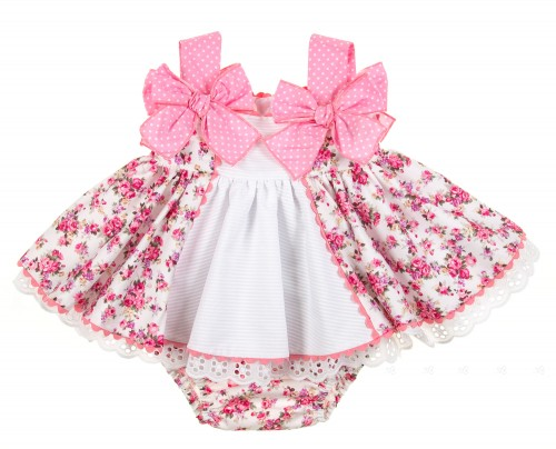 Pink Floral Flared Skirt Dress & Short with polka dots bows