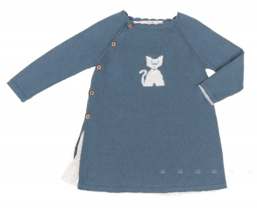 Baby Blue Knitted & Cotton Cat Dress