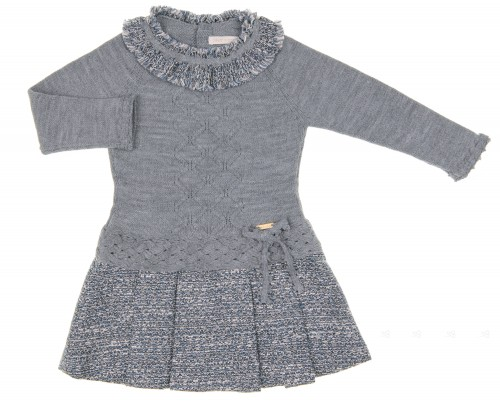 Gray Knitted Dress with Blue Tweed Pleated Skirt