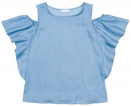 Girls Blue Chambray Off The Shoulder Ruffle Top