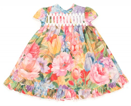 Colourful Floral Print Dress With Ruffle Layered Back