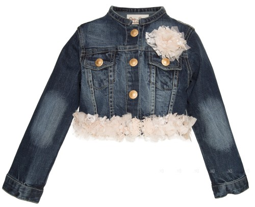 Lace & Tulle Decorated Denim Jacket with Brooch