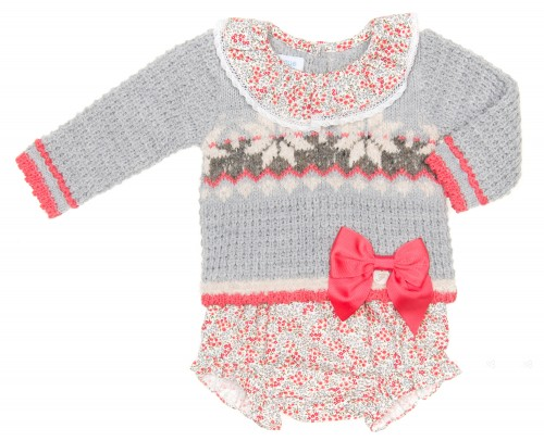 Baby Gray Sweater With Ruffle Collar & Floral Bloomers Set