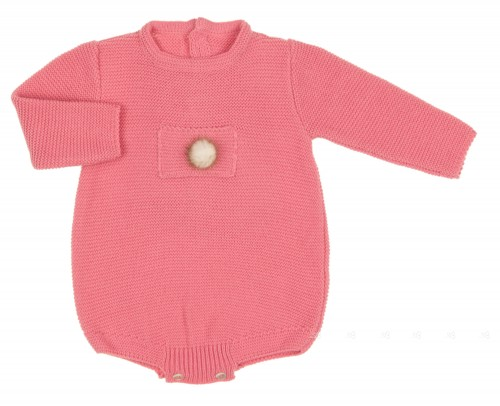 Pink Knitted Shortie with Fur Pom Pom