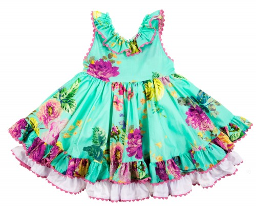 Emerald Green Floral Flared Dress
