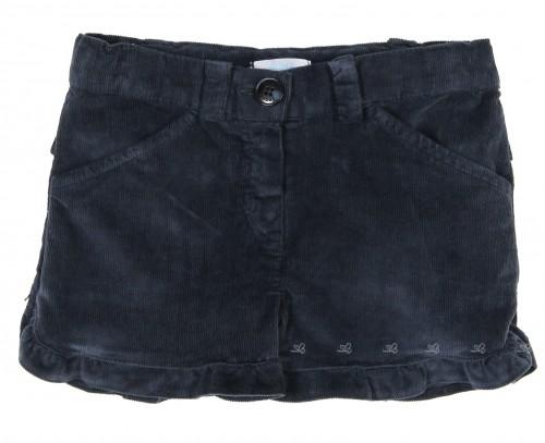 Girls Blue Corduroy Frilled Shorts