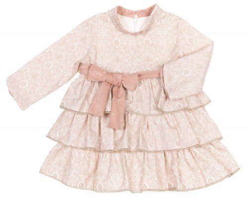 Pale Pink & Beige Layered Frilly Dress