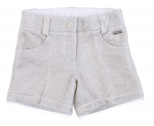 Silver laminated knit shorts with extra soft tulle