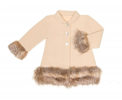 Beige Knitted Coat with Synthetic Fur Cuffs & Hem