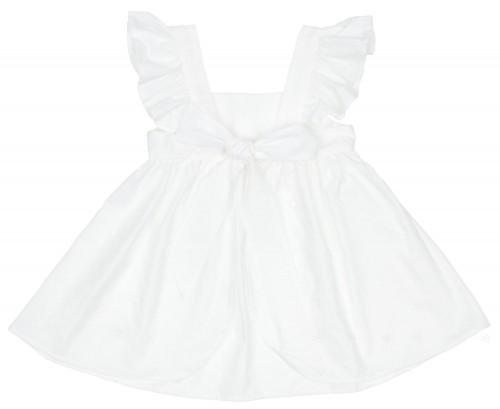Girls White Polka Dot Open Back Beach Dress