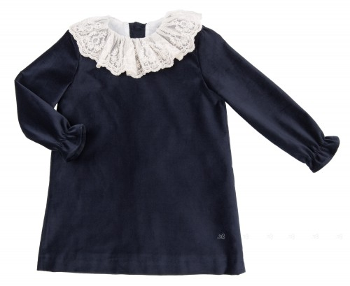 Dark Blue Velvet Dress with Ivory Lace Ruffle Collar
