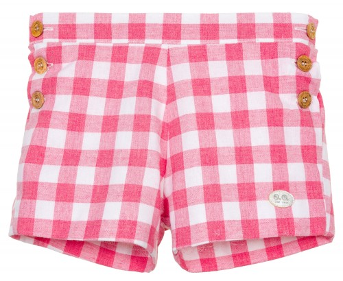Boys Strawberry Red Gingham Shorts