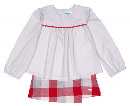 Girls Gray Blouse & Red Checked Skirt Set