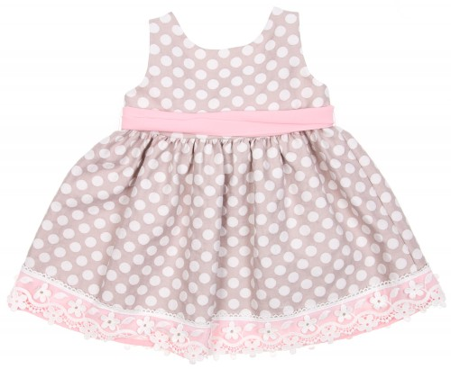 Beige & Pink Polka Dot Jacquard dress with Ribbon Belt