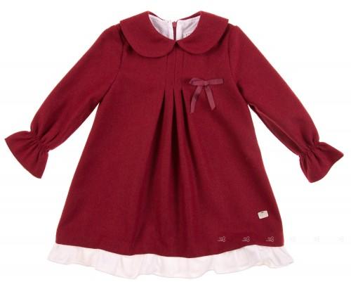Burgundy Dress with Round Collar & Frilled hem