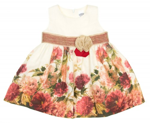Ivory & Red Chrysanthemum Dress