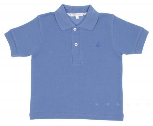 Blue Pique Jersey Polo Shirt