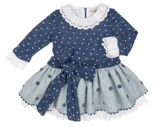 Girls Blue Knitted Dress with Cheviot Polka Dot Skirt
