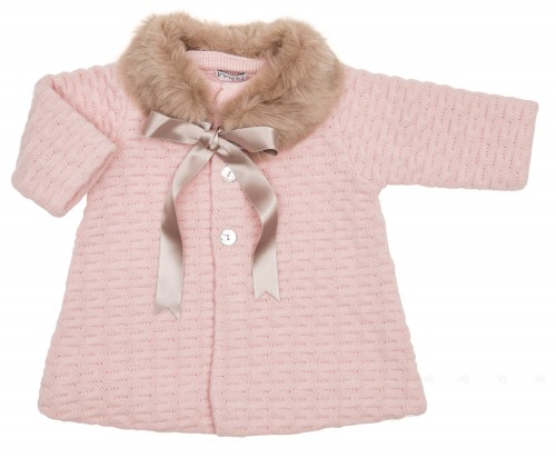 Pink knitted coat & Brown Synthetic Fur Collar