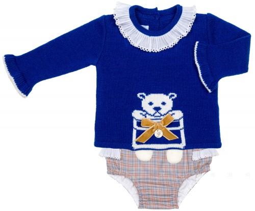 Foque Conjunto Bebé Niña Jersey Osito Azulón & Short Cuadros