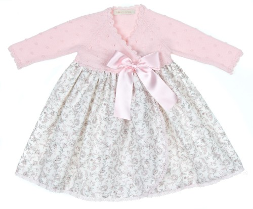 Pink Knitted & Cotton Floral Print Baby Gown