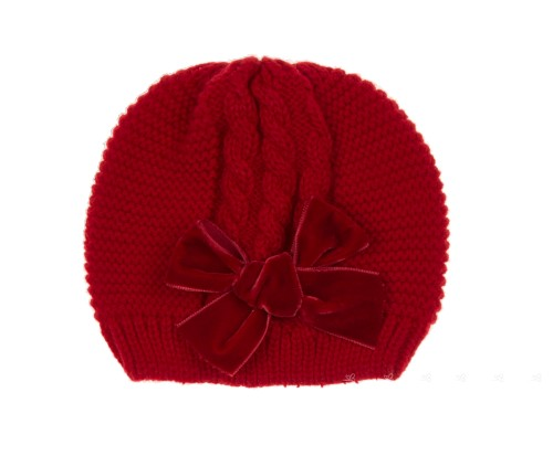 Red Knitted Hat with Velvet Bow