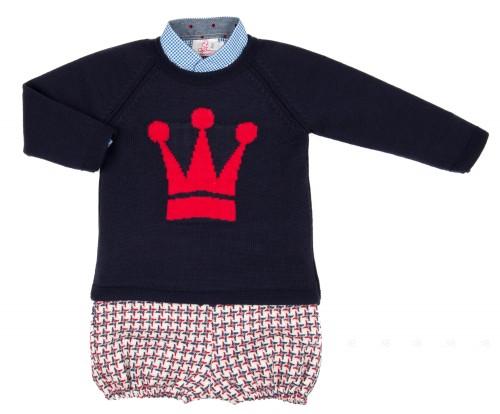 Boys Checked Shirt, Blue Crown Sweater & Wool Shorts Set