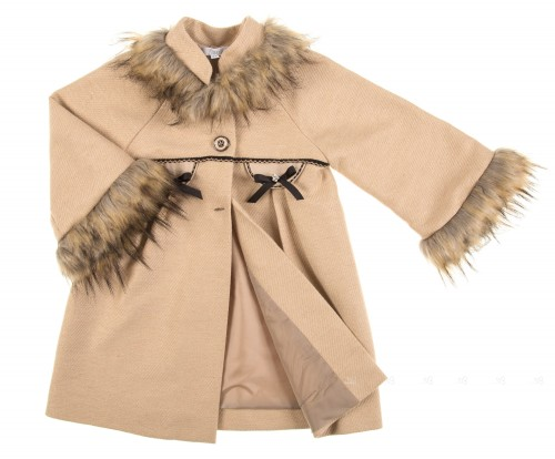 Beige Coat with Synthetic Fur Collar & Cuffs