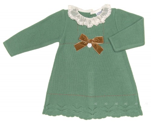 Baby Green Knitted Dress with Lace Collar