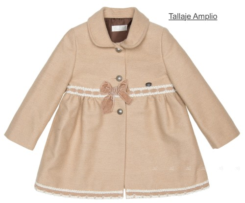 Girls Beige Traditional Coat With Lace & Velvet Bows