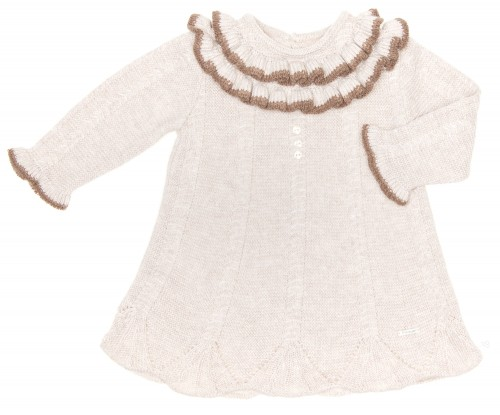 Baby Beige Knitted Dress with Ruffle Collar