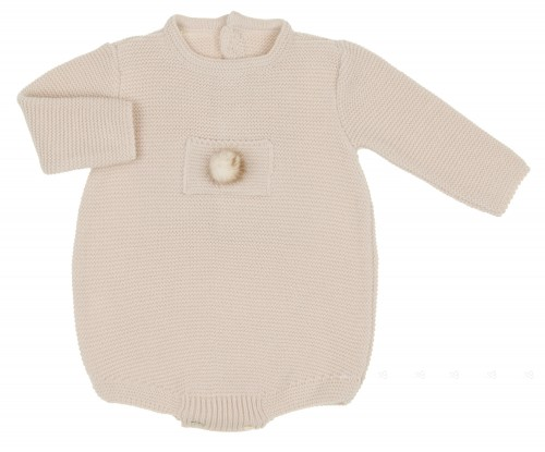Beige Knitted Shortie with Fur Pom Pom