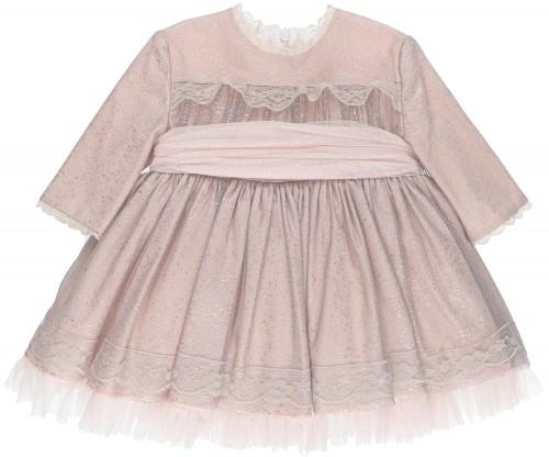 Chari Sierra Conjunto Niña Vestido Rosa Palo & Tul Plateado