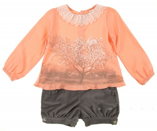 Peach Viscose Blouse & Grey Velvet Shorts