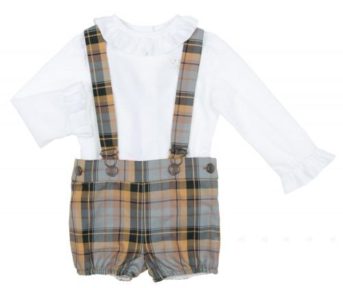 Baby Boys White Shirt & Mustrad Check Dungaree Shorts