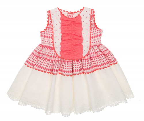 Ivory & Coral Pink Broderie Dress
