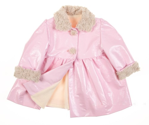 Pink Patent Fleece Lined Coat with synthetic fur collar & cuffs