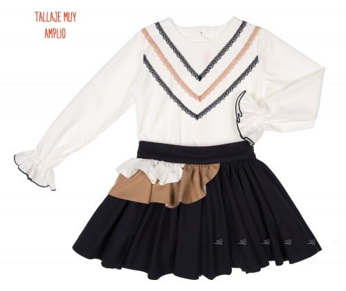 Girls Ivory Blouse & Dark Blue Skirt Set