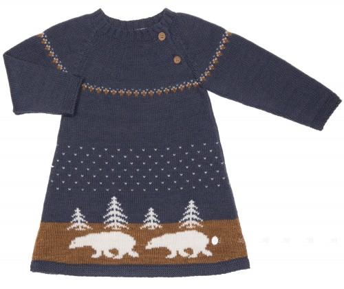 Blue & Mustard Polar Bear Knitted Dress