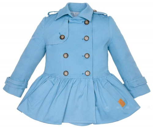 Girls Blue Cotton Trench Coat