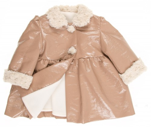 Beige Patent Fleece Lined Coat with synthetic fur collar & cuffs