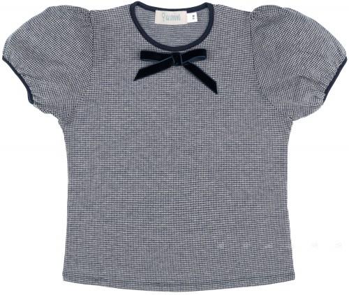Glovobó Camiseta Niña Algodón Pata de Gallo Azul Marino